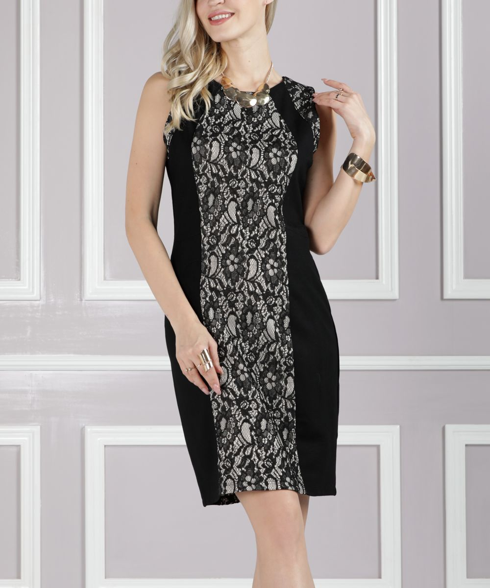 Black lace panel ponte dress plus too products