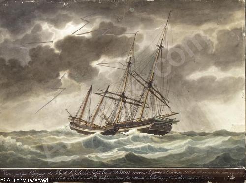 Segelschiff bleistiftzeichnung  ROUX Antoine Joseph Ange - Segelschiff