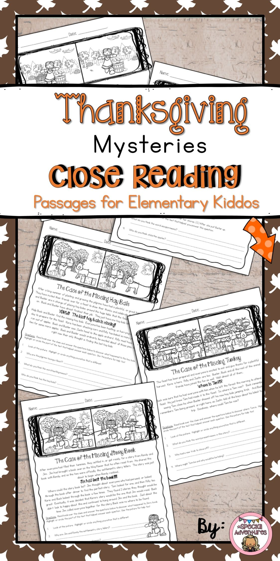 Thanksgiving Close Reading Passages Reading Comprehension