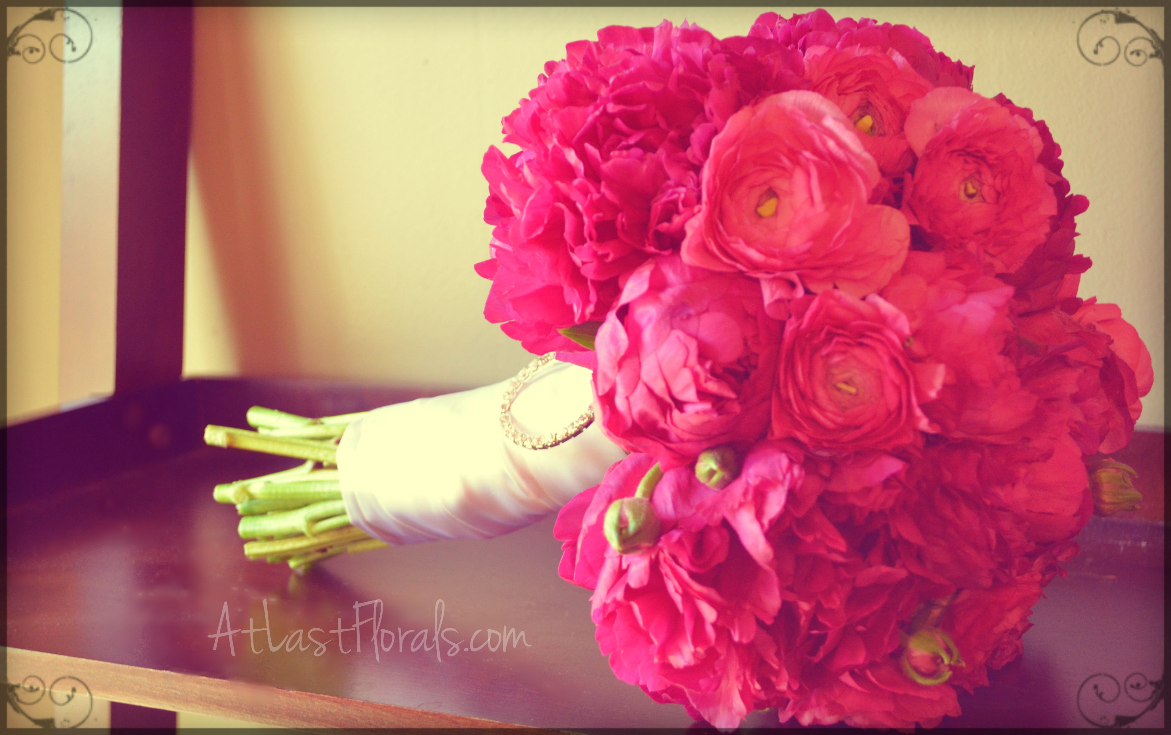 Pink Peony and Ranunculus Bridal Bouquet. Hot pink wedding flowers ...