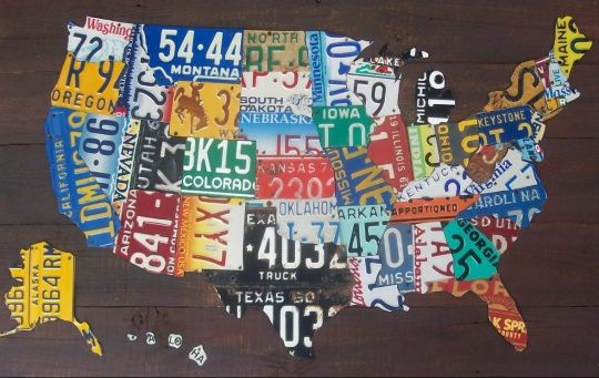 License Plate United States Map.Us Map Made From Old License Plates Rainbows License Plate Art