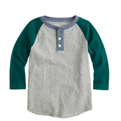 Boys shirts J.Crew - Boys' baseball henley w/ distressed jeans and suede casual shoes.  Bill in Teal/Green Polo, Jeans and Suede shoes.  Me - ?