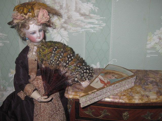 MAGNIFICENT French Fashion Doll Miniature Tortoise/Feather Fan with from doriansroom on Ruby Lane