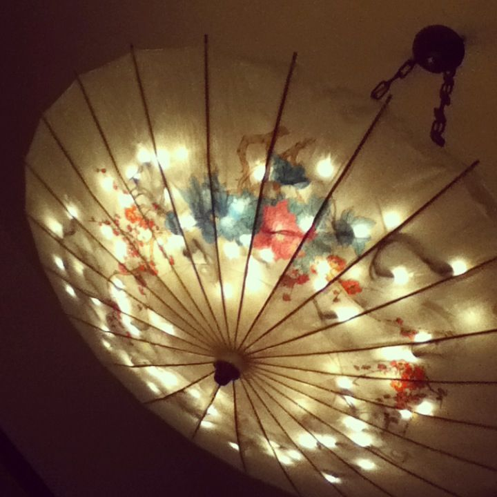 Paper umbrella light hanging pretty things pinterest for Decor umbrellas