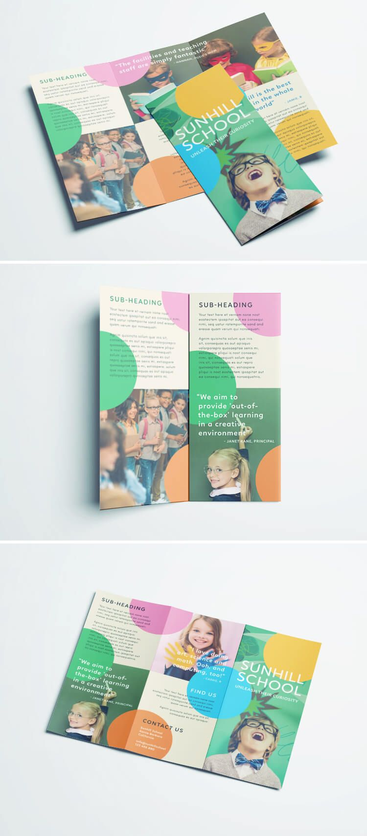 Colorful School Brochure Tri Fold Template Design Pinterest