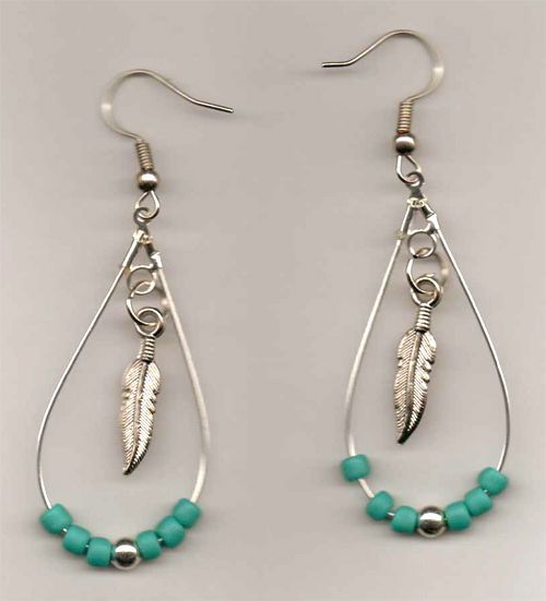 Seed Bead And Feather Hoop Earrings