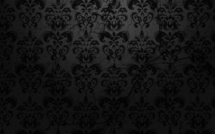 Download Wallpapers Damask Pattern 4k Floral Pattern Dark Background Vintage Damask Texture Besthqwallpapers Com Wallpaper Hd Wallpaper Minimal Desain Grafis