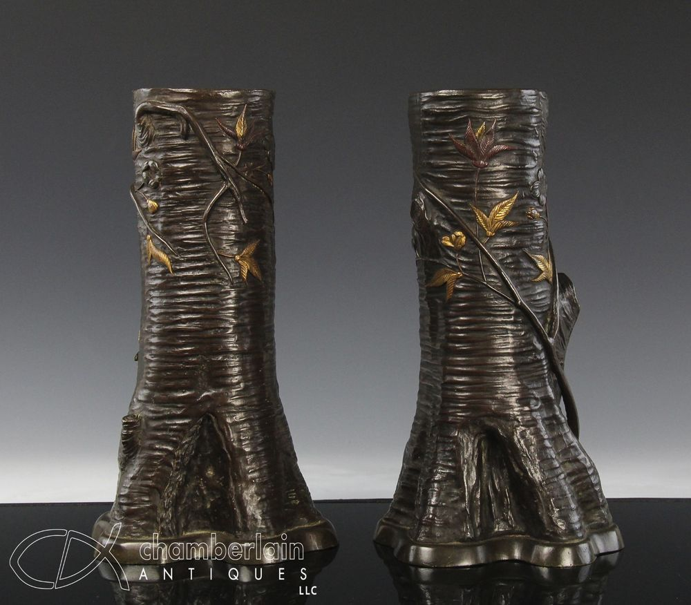 Nice pair of antique japanese bronze mixed metal vases in the form nice pair of antique japanese bronze mixed metal vases in the form of tree trunk reviewsmspy