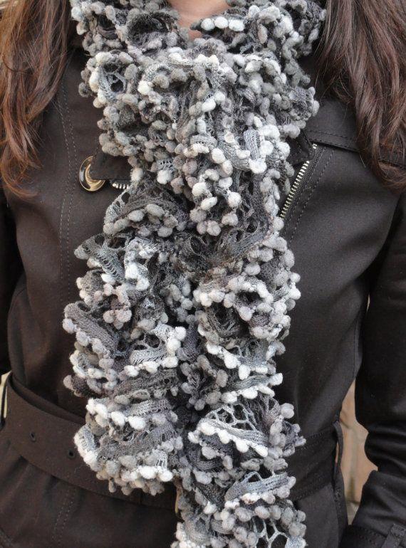 Ruffle scarf sashay scarf Pom Pom Scarf, Hand Knitted ruffle scarf