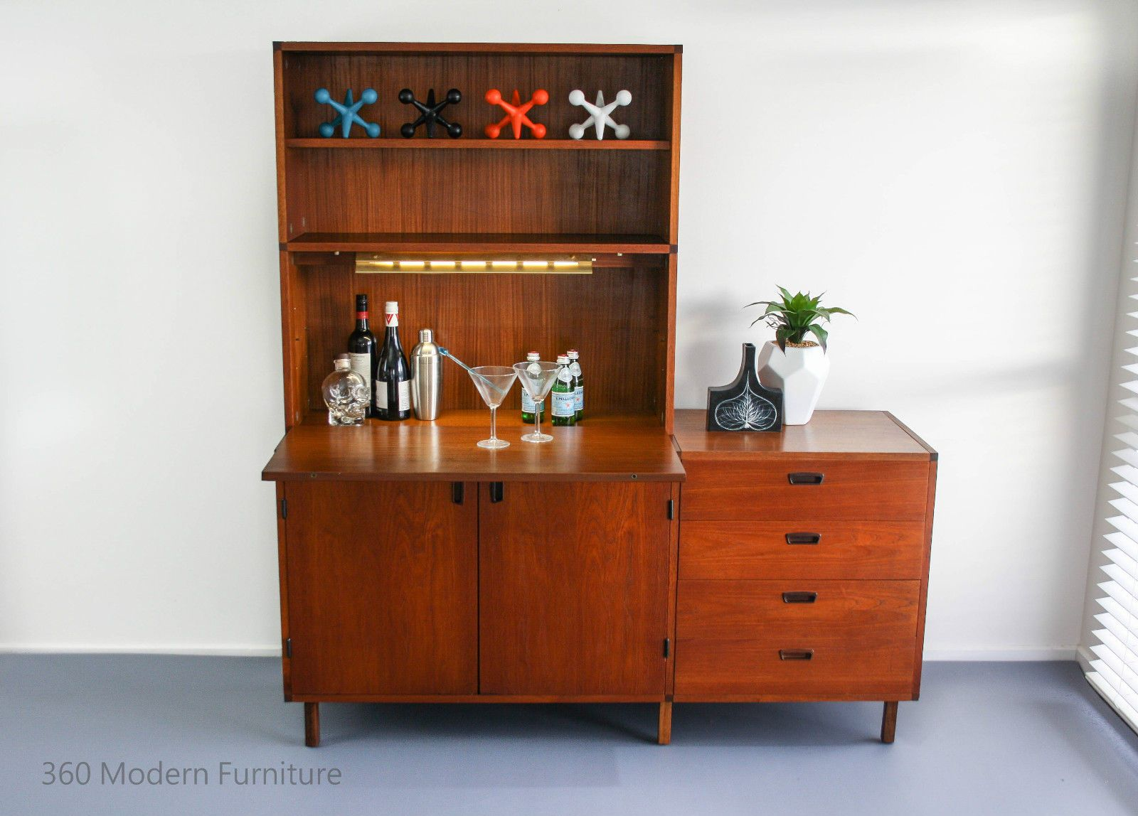 Mid Century Sideboard Cocktail Bar Cabinet Desk Drawers ...