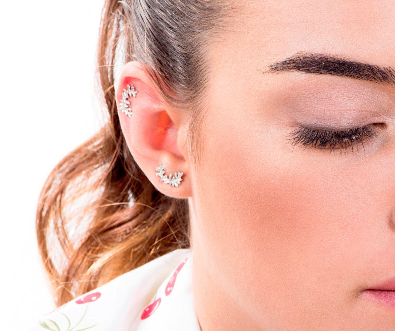 Cartilage Earring, Helix Earring, Tragus Earring, Stud Earrings, Branch  Earrings, Tragus Stud, Silver Cartilage Stud Piercing, Ear Cuff