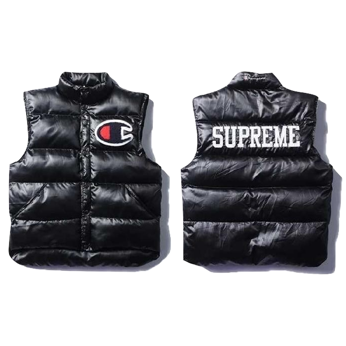 Supreme X Champion Puffy Vest Black Used Puffy Vest Puffy Black