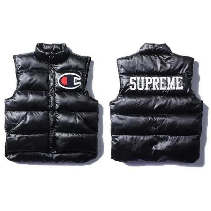 Supreme X Champion Puffy Vest Black Used Puffy Vest Puffy Black
