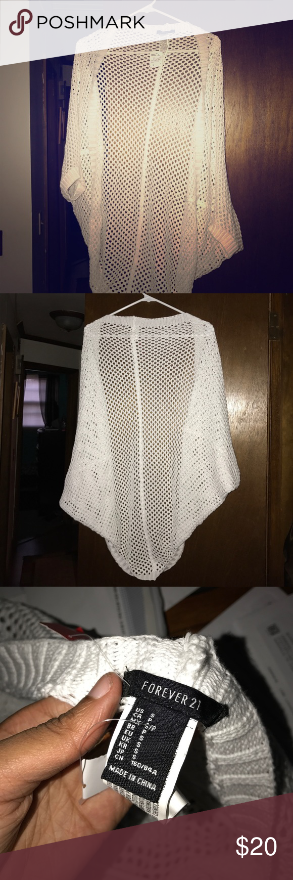 Knitted Cover Up !! Brand New all white cute knitted cover up !! Forever 21 Sweaters Shrugs & Ponchos