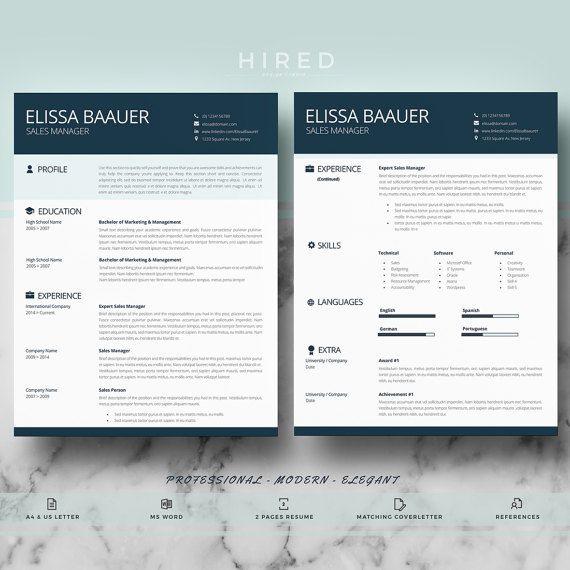 Professional and Modern Resume Template par HiredDesignStudio Cv