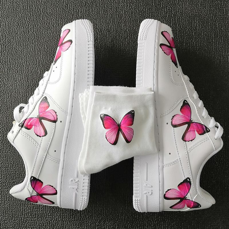 Custom AF1 Pink Butterflies And 1 Pair Matching Pink