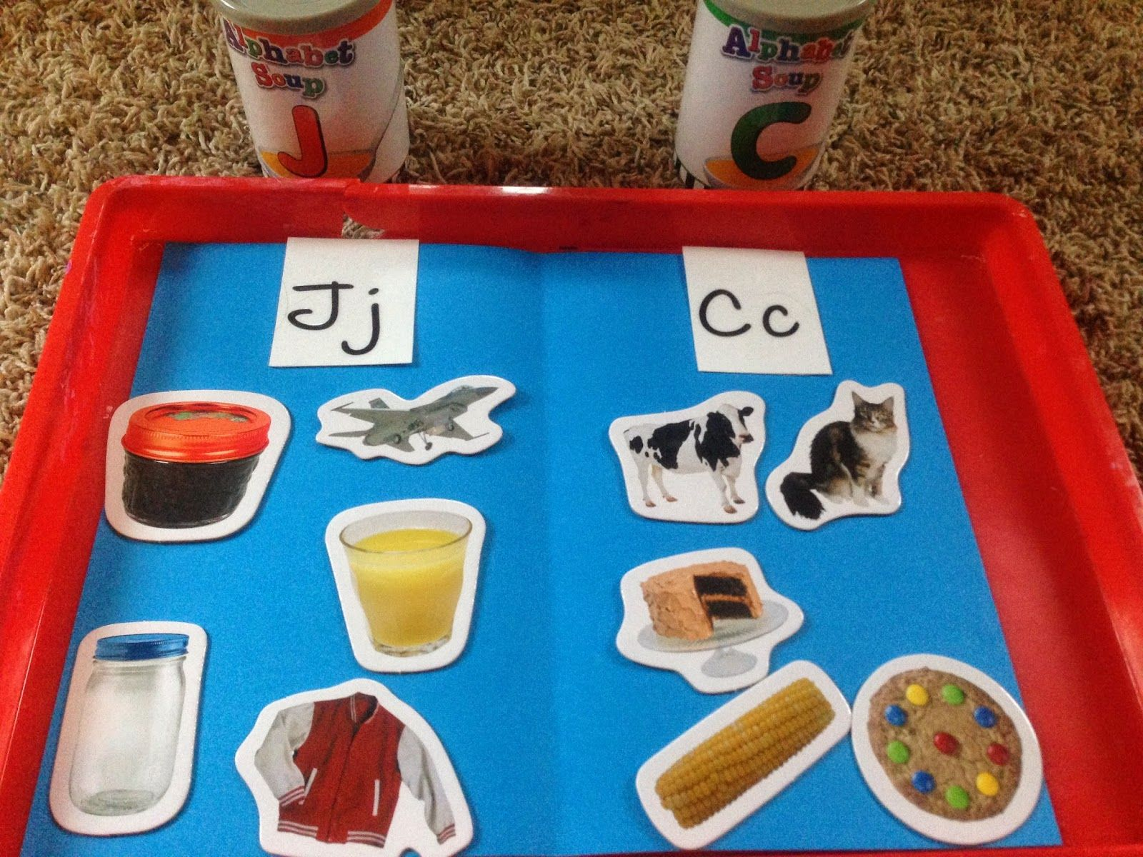 Alphabet Soup Cans For Beginning Sound Sorting Games