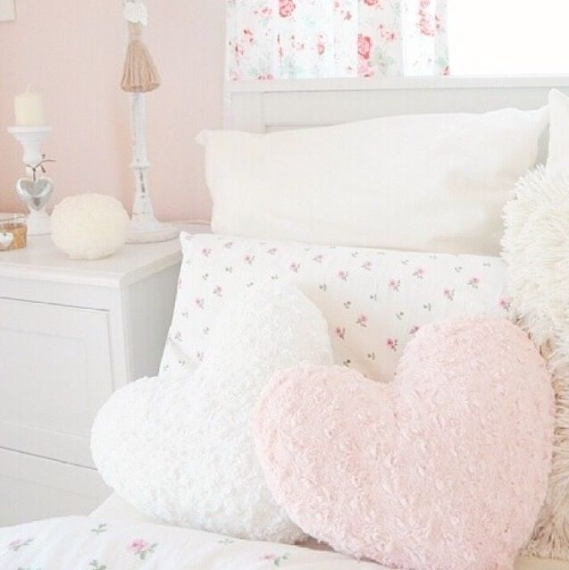 traditional white bed and fluffy pillows in cool teen bedrooms | I Love This Girly Room; Especially The Pink & White Heart ...