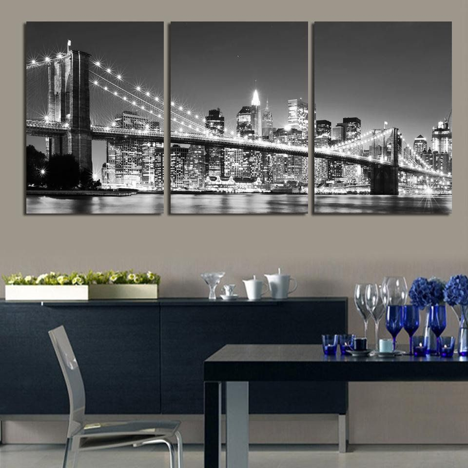 3 Piece Free Shipping Hot Sell Modern Wall Painting New York Brooklyn  Bridge Home Decorative Art Part 84
