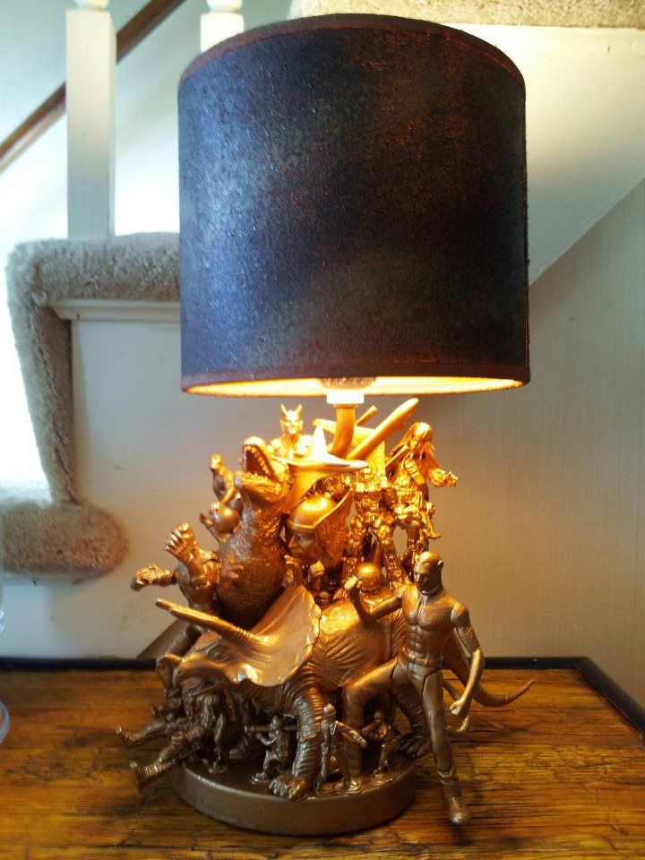 Action Figure Dinosaur Lamp. An Up Cycled Christmas Gift For My Brother In