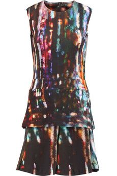McQ Alexander McQueen Tiered printed stretch-cotton mini dress | THE OUTNET
