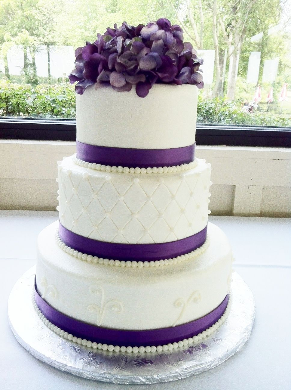Purple Round Wedding cake - Buttercream iced cake with fabric ribbon ...