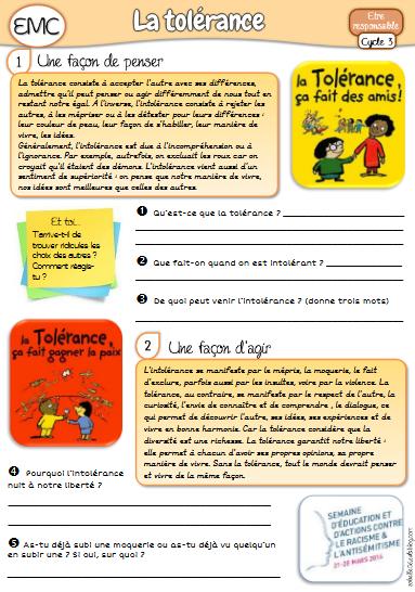 Emc Le Respect Cycle 3 : respect, cycle, Leçon, Tolérance, (cycle, Lezioni, Francese,, Bullismo,, Francese