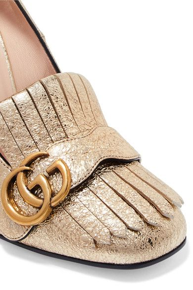 2505da03771 Gucci - Marmont Fringed Metallic Cracked-leather Pumps - Gold ...