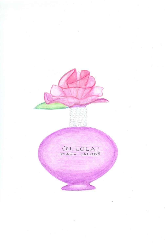 Perfume Pink Bottle Fashion Illustration Print Pink by Zoia