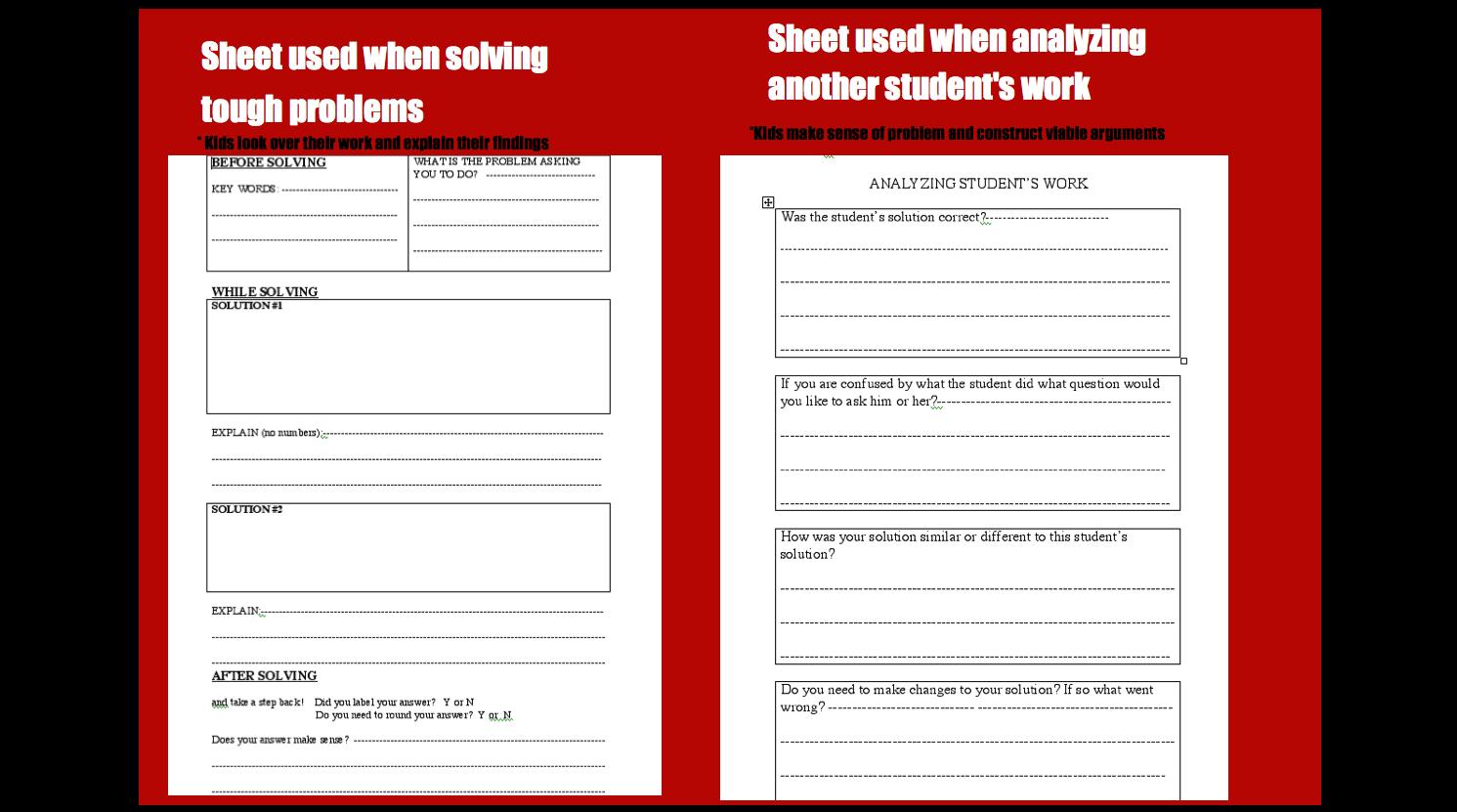 Student Response Sheets Mr Maloneys Classroom Website