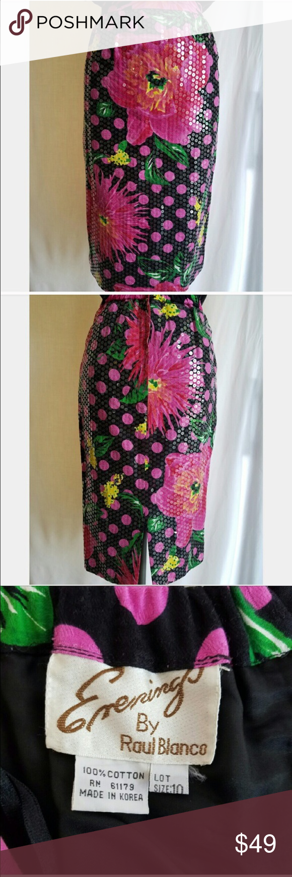 Vintage pink and black floral sequin pencil skirt Awesome condition!  Marked size 10 but fits normal size 6. No stretch. Vintage pink and black floral sequin pencil skirt! Vintage Skirts Pencil