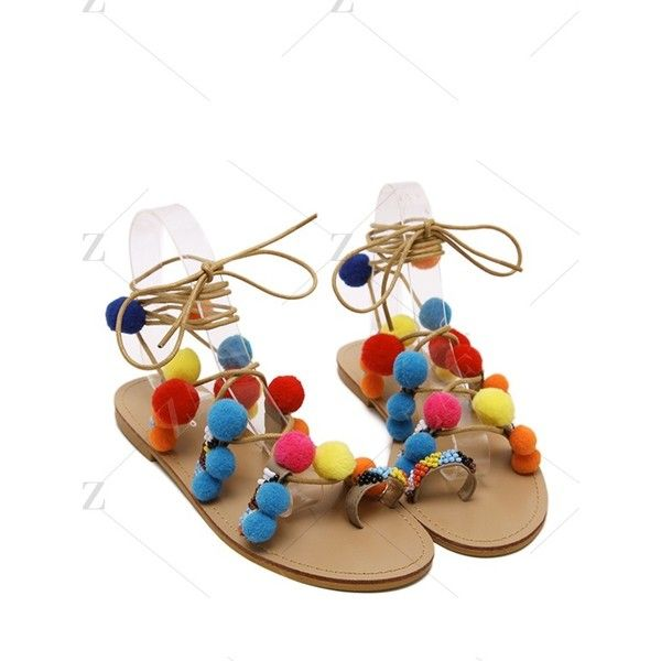 Pompon Lace-Up Flat Heel Sandals ($30) ❤ liked on Polyvore featuring shoes, sandals, lace up flat sandals, heeled sandals, lace-up sandals, laced shoes and flat shoes