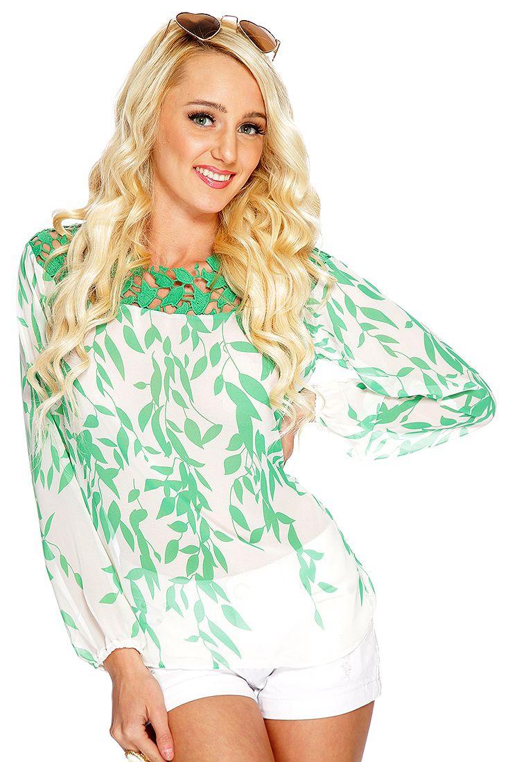 White Green Sheer Long Sleeves Dressy Top