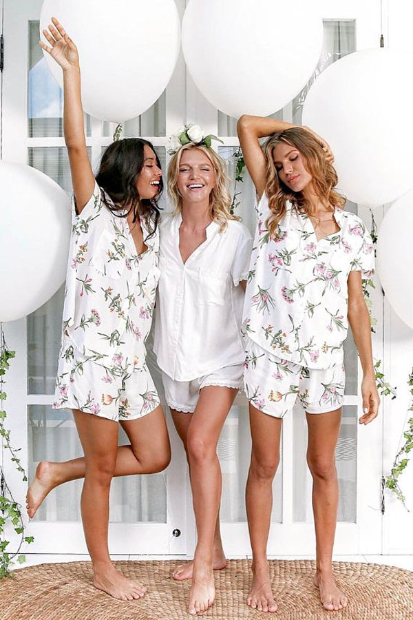 b8c62ba44e Bridesmaid Gift - Matching Floral Short Pajama Sets for Bride and  Bridesmaids