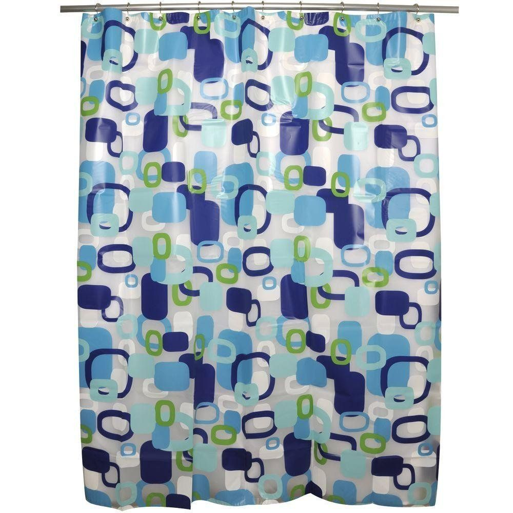 Hip Squares Peva Vinyl Shower Curtain In Shades Blue Turquoise Lime Green Aqua W Curtains