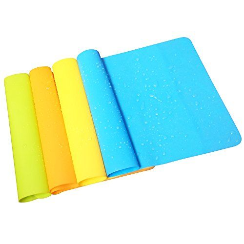 Yatim 4 Pcs Tablet Mat Heat Insulation Waterproof Thin Flexible Food Grade Great Non Stick Baking Silicone Extra Pastry Mat Washable Durable For Kitchen Dining Room ** See this great product.