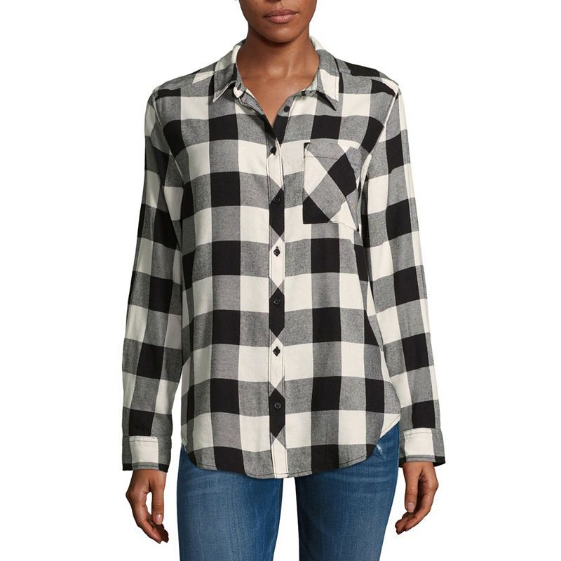 02af00232 Arizona Loose Fit Long Sleeve Button-Front Shirt-Juniors | Products ...