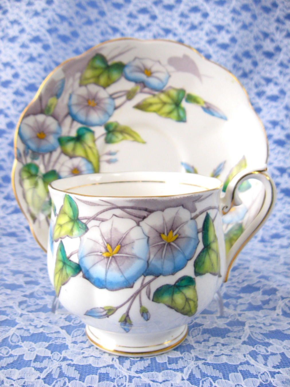 Royal Albert September Morning Glory Cup And Saucer Flower Of The Month 1940s Tea Cups Tea Cup Collection Cup And Saucer