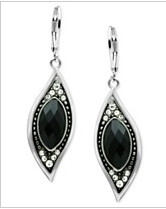 Rhodium-Plated Jet Glass Crystal Drop Earrings $32