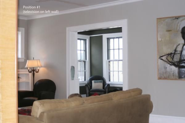 Revere Pewter By Benjamin Moore In First Room With Darker Color Olive Branch