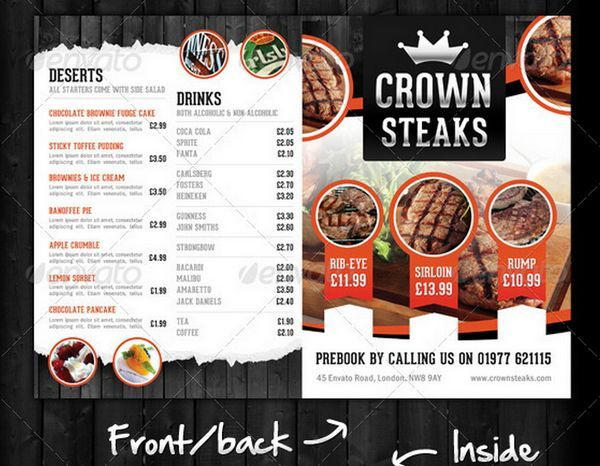 100 Great Restaurant Food Menu Print Templates 2016 | Frip.in