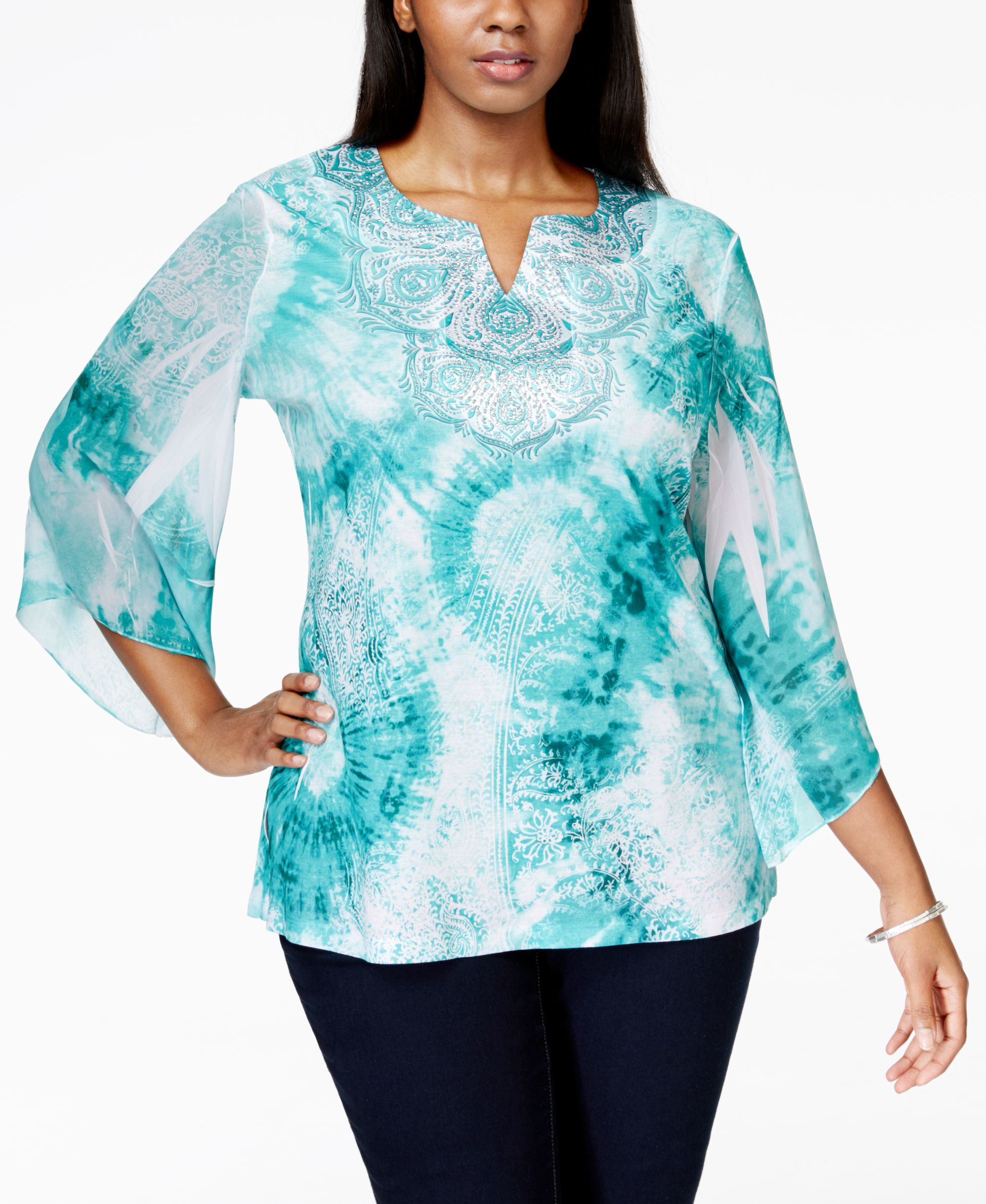 Jm Collection Plus Size Printed Batwing-Sleeve Blouse, Only at Macy's