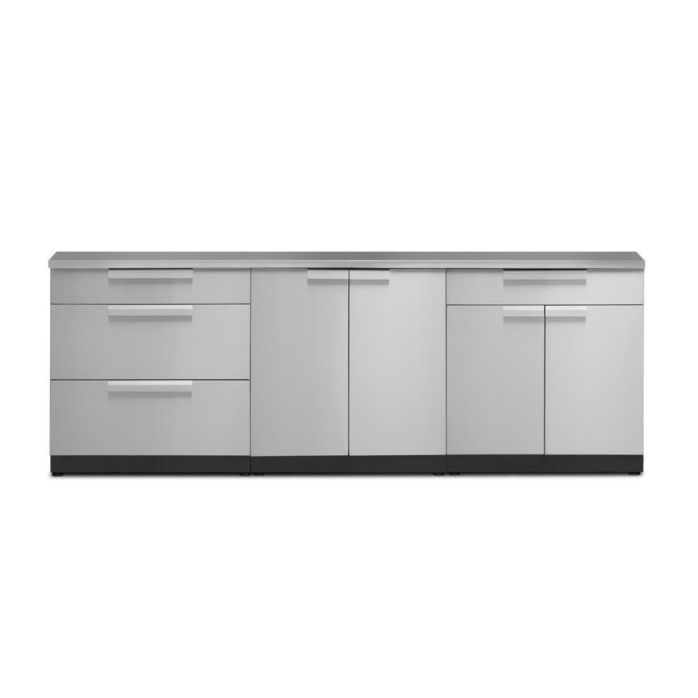 Newage Products Stainless Steel 4 Piece 96 In W X 36 5 In H X 24 In D Outdoor Kitchen Cabinet Set 65052 The Home Depot In 2020 Outdoor Kitchen Cabinets Kitchen Set Cabinet Modular Outdoor Kitchens