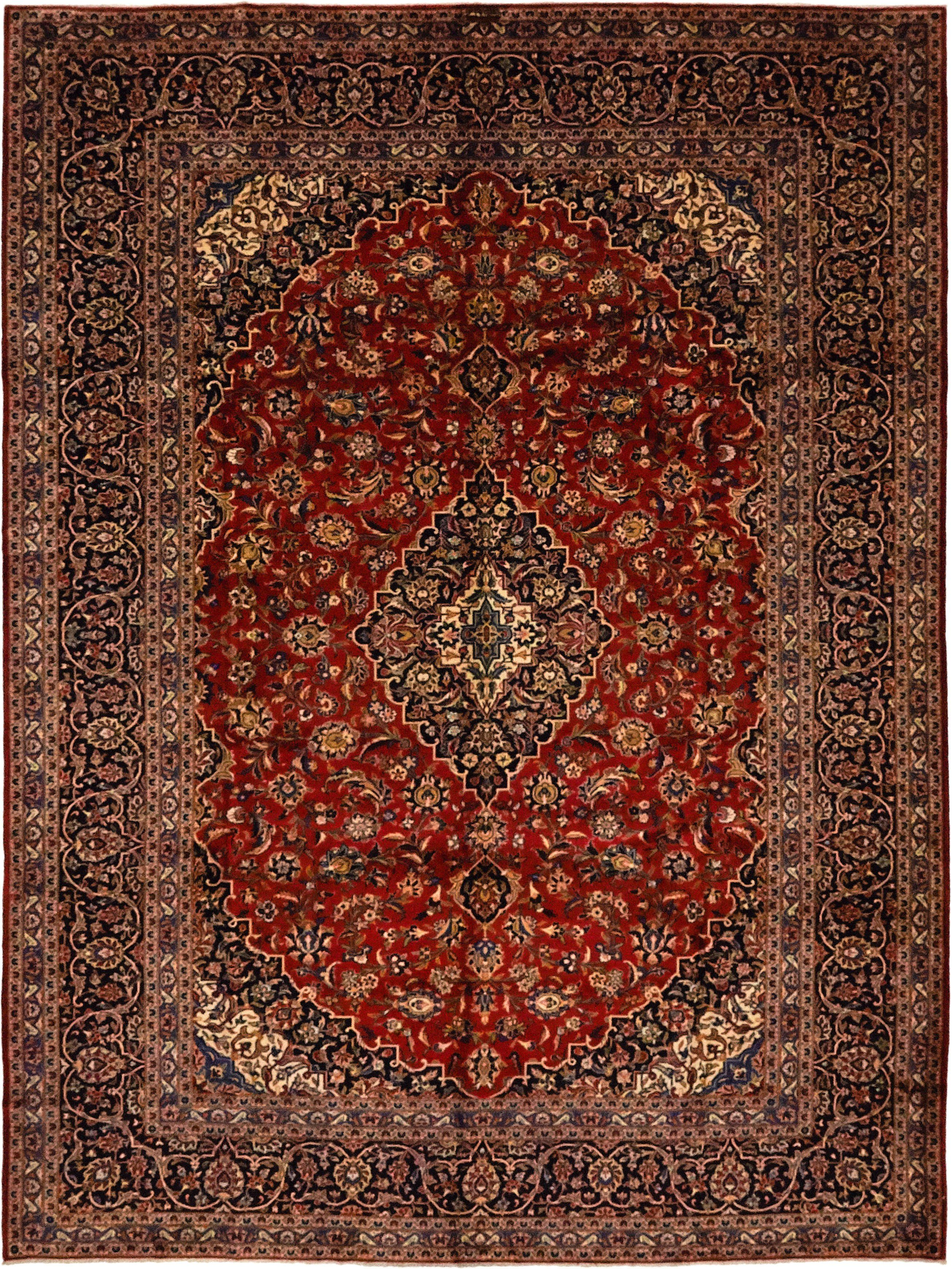 Hand Knotted Kashan Rectangle Area Rug