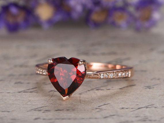 Natural Garnet Engagement Ring 14k Rose Gold Garnet Wedding Ring Vintage Style Garnet Bridal Promise Ring Antique Milgrain Engagement Ring