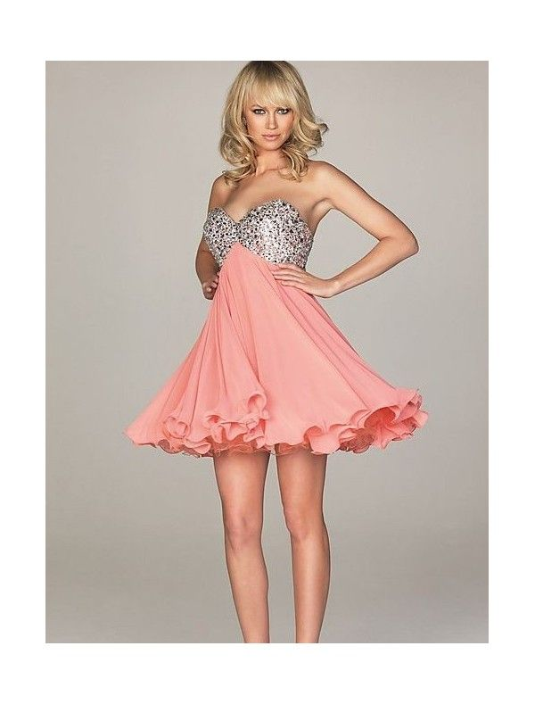 Chiffon Sweetheart Dress with Sequined Bodice Short | Party Dresses ...