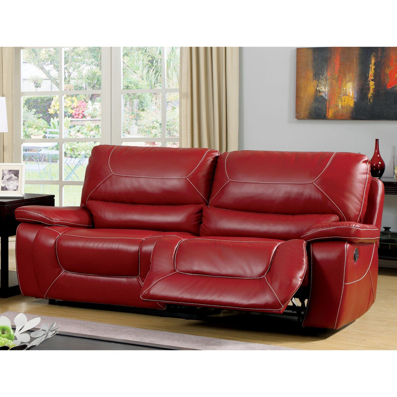 Astounding Furniture Of America Knightly Recliner Sofa Red In 2019 Ibusinesslaw Wood Chair Design Ideas Ibusinesslaworg
