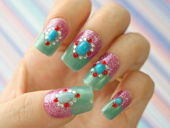 Summer, boho, blingy, gyaru, Japanese nail art, green, ruby, watermelon, turquoise, moroccan, bijoux on Wanelo