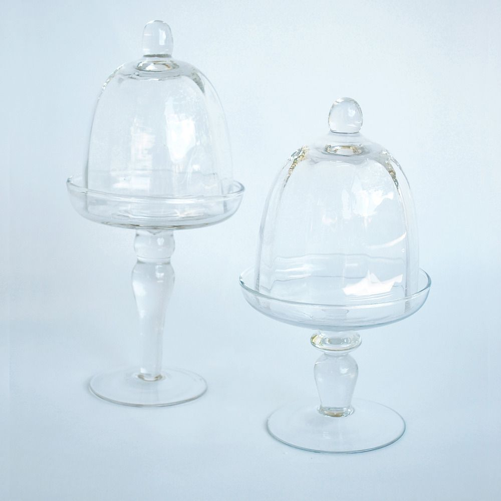 Bon boutique mini glass cake stands with dome glass