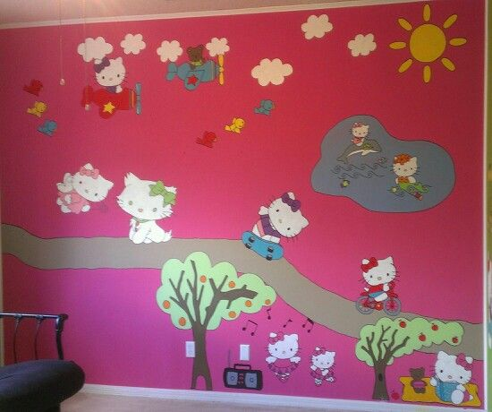 Hello Kitty Mural For My Daughter. Not Difficult At All If You Can Trace A Part 77
